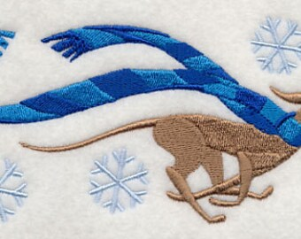 Wrapped Up in Winter Greyhound Embroidered Flour Sack Hand/Dish Towel