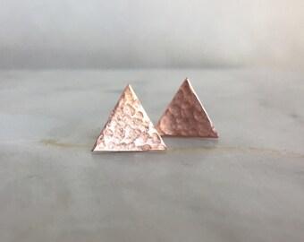 Copper Triangle Earrings, Copper Stud Earrings, Triangle Studs, Copper Anniversary Gift for Women Everyday Earrings Minimalist Stud Earrings