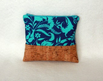 Zipper Pouch with Cork Accent - Amy Butler Ivy Bloom and Cork Bag