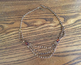 Vintage Rootbeer Brown Rhinestone Scalloped Choker Necklace 1177