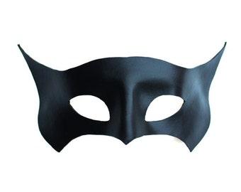 Black Leather Bat Superhero Masquerade Mask, Cosplay Handmade UK