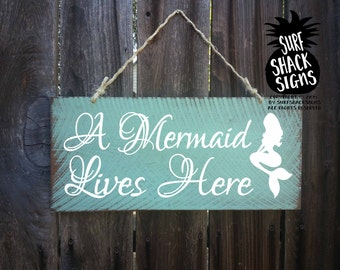 mermaid decor, mermaid sign, mermaid lives here, beach sign, beach house decor, Surf Decor, Surf Shack, Mermaid, Ocean, 257