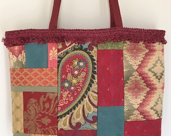 Patchwork Tote Bag, upholstery fabrics, braided loop trim