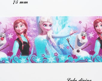 Ribbon grosgrain blue & purple frozen Queen Elsa Anna Olaf 75 mm sold by 50 cm