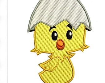 Embroidery Designs Chick in Shell, Cute Chick in Shell