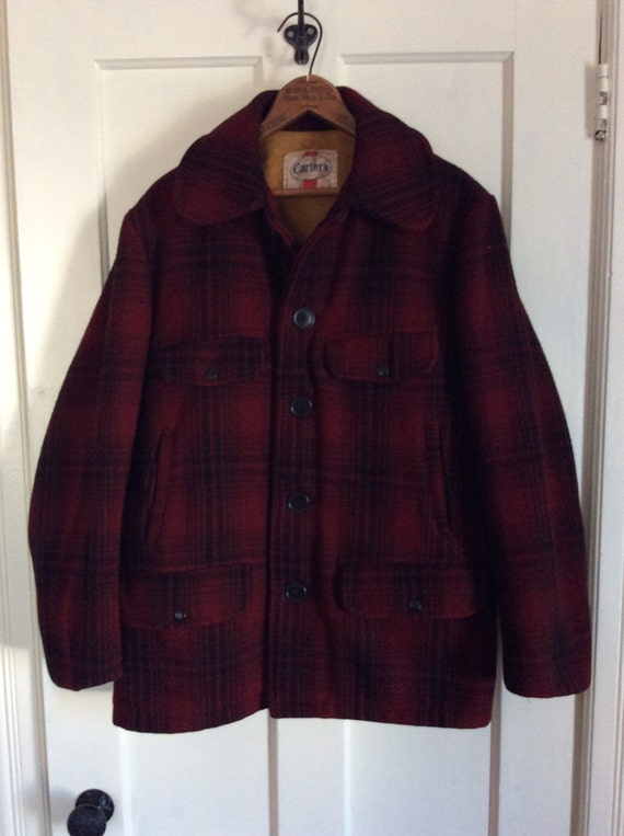 and Black 1950's Coat looks Carter's Wool Hunting Plaid Dark Jacket Red large size FO0aFq