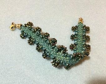 Kumihimo and bead woven bracelet