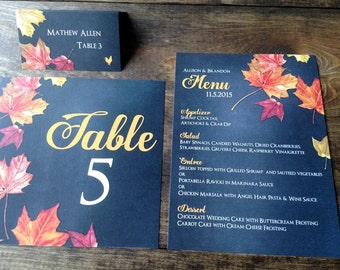Fall Leaves and Chalkboard Wedding Reception Suite