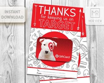 PRINTABLE Thanks for Keeping Us on Target, Gift Card Holder, Teacher Appreciation Gift, Target Gift, Teacher Appreciation, INSTANT DOWNLOAD