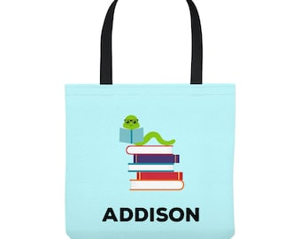 Personalized Library Tote Bag - Bookworm with Glasses -  Custom Library Bag - Three Sizes to Choose From