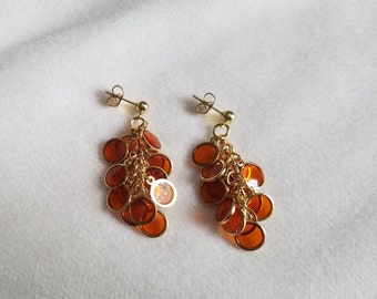 Orange & Gold Circle Cluster Earrings