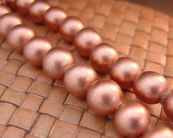 15 inch strand 6, 8, or 12 mm Round Wood Beads, Metallic Copper Color