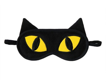 Black Cat Sleep Mask, Yellow Eyes Kitty, Kawaii Animal, Sleeping eye mask, Cat ears face mask, Blindfold gift for her, Gift for cat lover