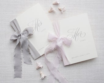Wedding Vow Books, Vow Booklet, Linen Vow Book, Personalized, Silk Ribbon, Our Vows, Bridal Shower Gift, Engaged, Wedding Gift-Customizable