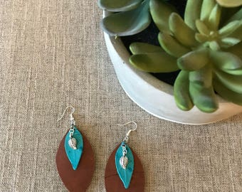 Three Leaves Leather Earrings