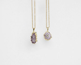 Petite Amethyst Stalactite Necklace / gold plated druzy pendant