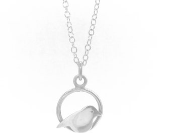 Sterling Silver Bird Pendant Necklace, Silver Bird Necklace, Silver Bird Charm Necklace,