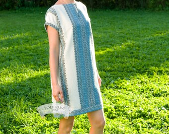 Casual russian dress for woman, Short dress, Mini dress, Slavic dress, Linen tunic, Vyshyvanka