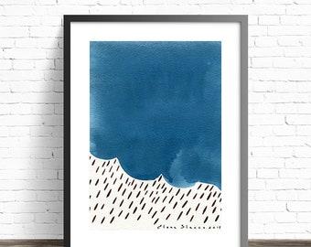 Nature prints. Modern Art Print. Minimalist art print. Abstract print. Contemporary wall art. Modern abstract art. Blue art print