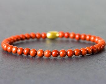 Mens jasper bracelet, red jasper, gemstone bracelet, mens, womens, mens gift, womens gift, stretch bracelet, elastic bracelet, 4mm.