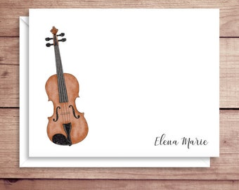 Fiddle Note Cards - Violin Folded Note Cards - Personalized Music Stationery - Fiddle Thank You Notes - Violin Note Cards