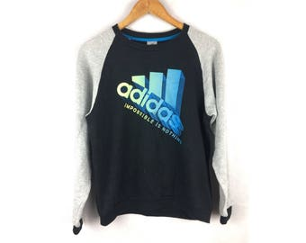 ADIDAS Impossible is Nothing Large Size Sweatshirt Full Print Logo