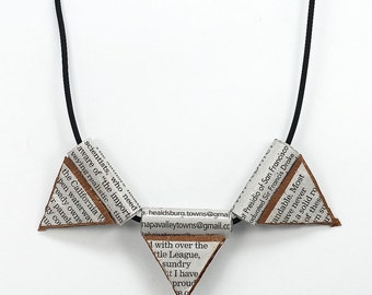 Triangle Geometric Necklace- Upcycled Newspaper Paper Bead Jewelry, Paper Bead Necklace, Paper Jewelry, Bunting Necklace, Contemporary