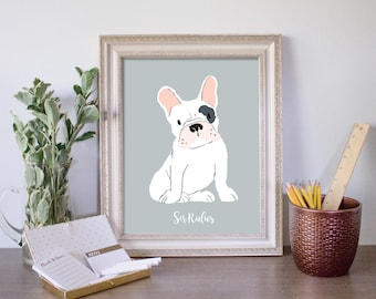 custom pet portrait, dog portrait, pet loss gift, dog mom gift, dog drawing, Father's Day, Fathers Day, gift for Dad, man's best friend
