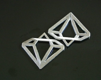 Set of 2 charms silver metal diamond dimensions: 30 x 28 mm, thickness: 2.5 mm