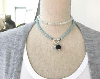 Aquamarine and Moonstone Mala Beads Necklace With Clasp no Tassel, Customizable Mala Beads Necklace, Japa Mala 108 Prayer Beads