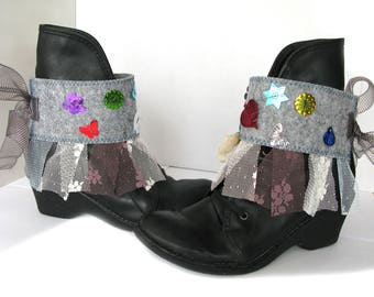 Colourful boot cuffs/boot accesories/felt-tulle-beads