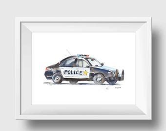 Police car wall art print - Gift for Policeman - black and white car print - Police Officer gift - Fathers Day gift