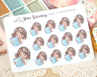 Happy Kawaii Girl Planner Lover Decorative Stickers ~Vashti~ For your Life Planner, Diary, Journal, Scrapbook...