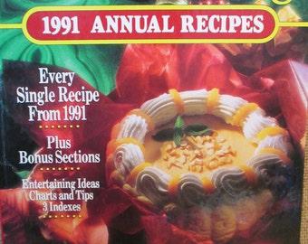 Vintage 1991 Southern Living Annual Recipes, Cookbook, Recipe Book, Kitchen Decor, Book Decor