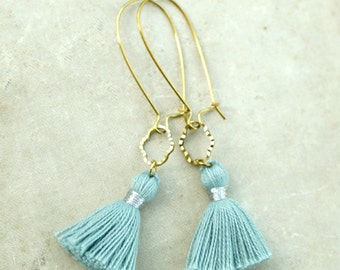 Tassel Earrings, Sky Blue Tassels, Long Earrings