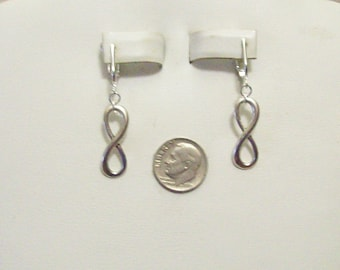 Tibet Silver or Gold Infinity 8 Clip On Earrings or Pierced