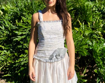 Vintage 1980s NADINE white / silver taffeta & lace party / prom dress, size 4 / 6 / Small