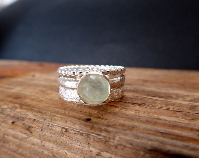 Gemstone Stack Rings Prehnite Cabochon 925 Sterling Silver Ring Set