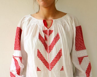 Romanian Blouse, Vintage 70s Boho Ethnic White Red Embroidered Shirt, Sheer Gauze Cotton Peasant Folk Blouse Dress Gipsy Hippie Hungarian L