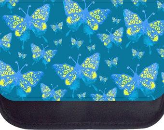 Blue and Yellow Grunge Butterflies Print Design - Black Pencil Bag - Pencil Case