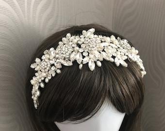 Statement headpiece - Bridal headpiece , silver crystal headband crystal Wedding tiara - Bridal hair accessories - wedding headpiece.