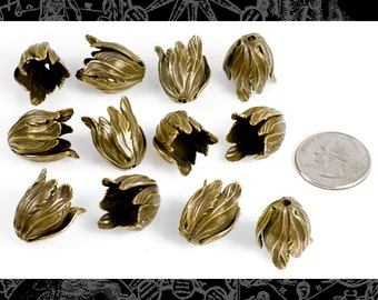 12 Antique Brass Tulip Beads Brass * AB-BC04