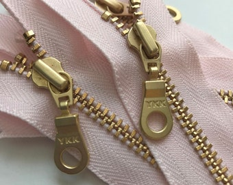 YKK Brass Gold Metal Donut Pull Zippers- (5) Pieces -511 Cotton Candy Pink- Available in 8, 12, and 16 inches