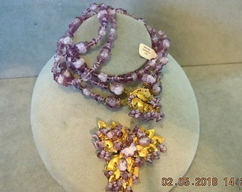 """Miriam Haskell Set - lavender shades -necklace 20"""" long -excellent condtion"""