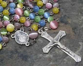 Glass Cat's Eye Rosary in Pastel Colors, 5 Decade Rosary, Sacred Heart, Multi-Color Rosary, Catholic Rosary, Easter Rosary, Rosary Beads