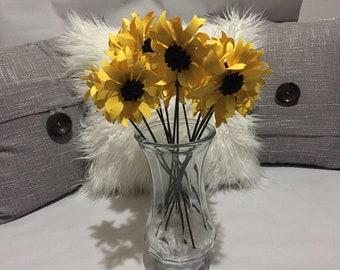 Wedding Paper Sunflowers One Dozen Paper Sunflowers  Baby Shower Doublesided Paper Sunflowers