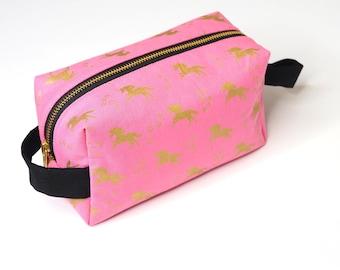 Gold Unicorns Metal Zipper Large Boxy Bag (Pink Fabric) - Toiletry Bag / Makeup Bag / Pencil Bag