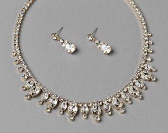 Gold Rhinestone Wedding Jewelry Set. Gold Bridal Jewelry, Gold Wedding Accessories, Gold Wedding Necklace, Gold Wedding Earrings ~JS-1672
