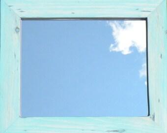 Antiqued Aqua Blue Mirror, Vintage Style Aqua Blue Stain Pine Wood Framed Mirror, Blue Worn Beach House  Mirror, Seashore Mirror, Nursery