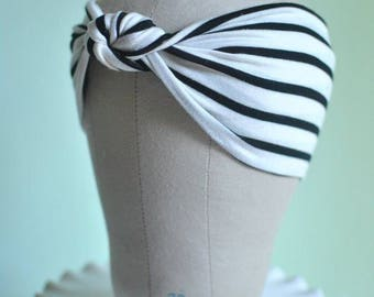 White and Black Striped Turban Hat or Turban/Knotted Headband